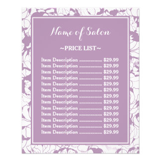 Modern Purple Floral Girly Beauty Salon Price List 11.5 Cm X 14 Cm Flyer