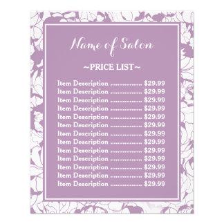 Modern Purple Floral Girly Beauty Salon Price List 11.5 Cm X 14 Cm Flyer