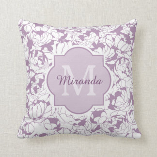 Modern Purple Floral Girly Monogram With Name Throw Pillow