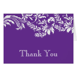 Modern Purple Floral Leaf Flourish Thank You Note Note Card