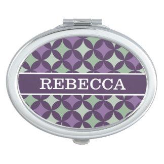 Modern Purple Geometric Circle Pattern Monogram Vanity Mirrors
