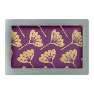 Modern Purple & Gold Florals Belt Buckles