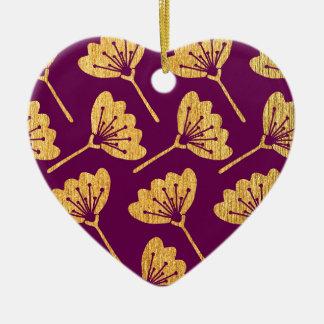 Modern Purple & Gold Florals Ceramic Ornament