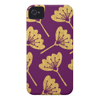Modern Purple & Gold Florals iPhone 4 Covers