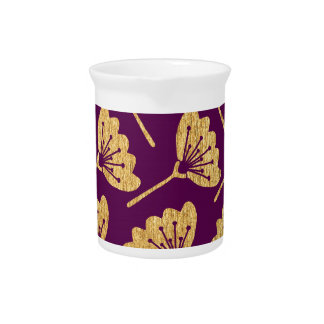 Modern Purple & Gold Florals Pitcher