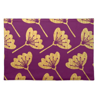 Modern Purple & Gold Florals Placemat