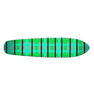 Modern purple gray and green plaid skate deck