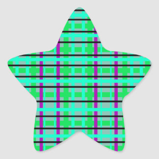 Modern purple gray and green plaid star stickers