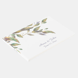 Modern Purple Green Gold Watercolor Leaves | Guest Book