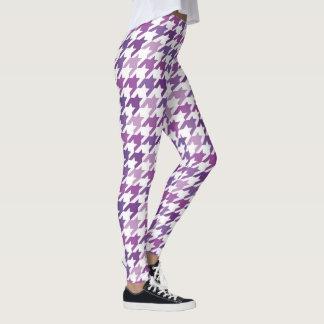 Modern Purple Houndstooth Pattern. Leggings