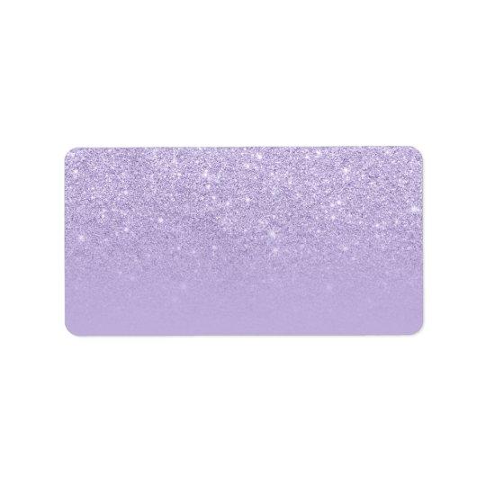 Modern purple lavender glitter ombre colour block address label