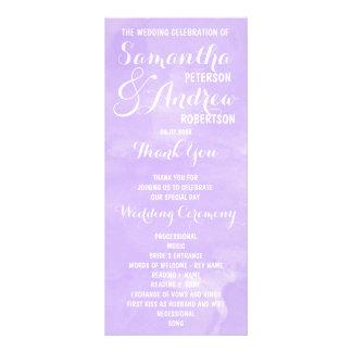 Modern purple lavender watercolor Wedding Program Rack Card