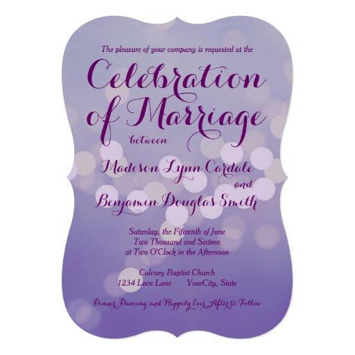 Modern Purple Lilac Bokeh Dots Wedding Invitations