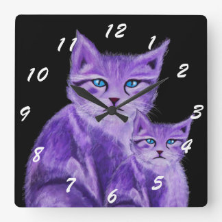 Modern purple painted cat with blue eyes square wall clock