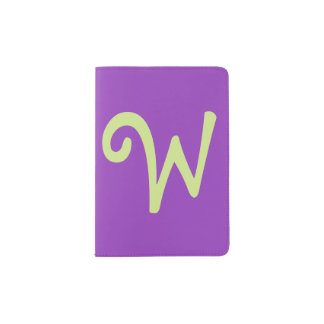 Modern Purple Passport Holder, Lime Green Monogram Passport Holder