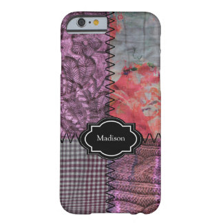 Modern Purple patchwork fabric knitted monogram Barely There iPhone 6 Case