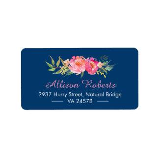 Modern Purple Red Pink Botanical Floral Navy Blue Address Label