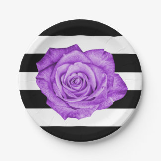 Modern Purple Rose Black White Striped Wedding 7 Inch Paper Plate