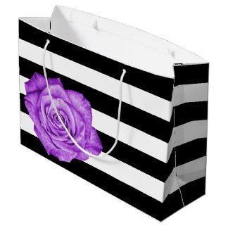 Modern Purple Rose Black White Striped Wedding Large Gift Bag