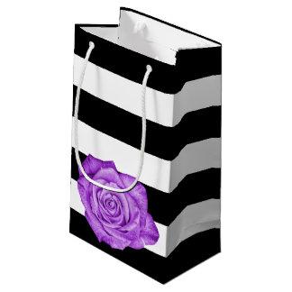 Modern Purple Rose Black White Striped Wedding Small Gift Bag