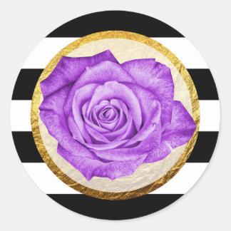 Modern Purple Rose Faux Gold Foil Striped Wedding Round Sticker