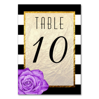 Modern Purple Rose Faux Gold Foil Striped Wedding Table Card