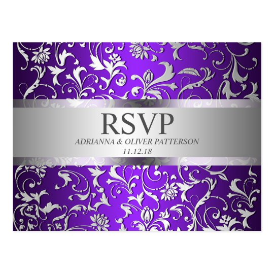 Modern Purple Silver Floral Wedding RSVP Postcard