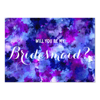 Modern purple watercolor Will you be my Bridesmaid 13 Cm X 18 Cm Invitation Card