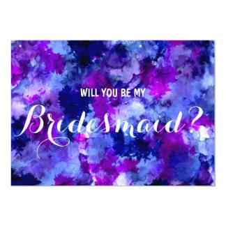 Modern purple watercolor Will you be my Bridesmaid 13 Cm X 18 Cm Invitation Card