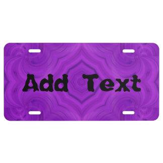 Modern purple wood pattern license plate