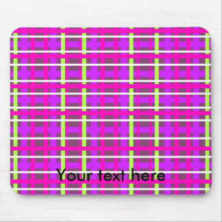 Modern purple yellow and pink plaid mouse pad