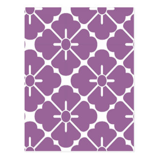Modern purplish flower pattern postcard