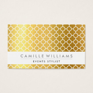 MODERN QUATREFOIL MOROCCAN pattern gold foil Business Card