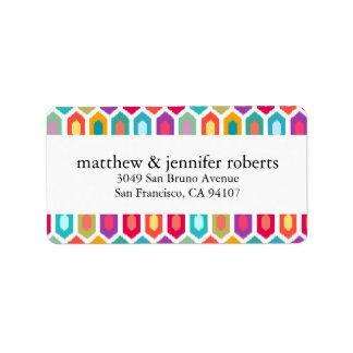 Modern Rainbow Colorful Geometric Ikat Label