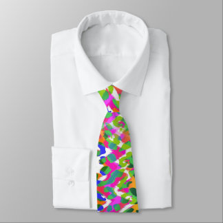 Modern Rainbow Leopard Print Tie