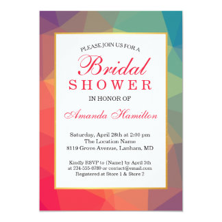 Modern Rainbow Polygonal Geometric Bridal shower Card