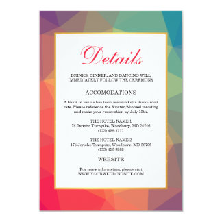 Modern Rainbow Polygonal Geometric Wedding Details Card