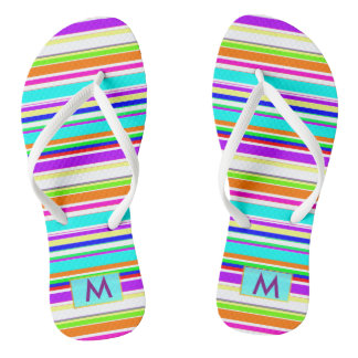 Modern Rainbow stripes monogram Thongs