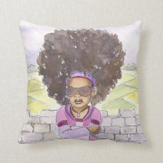 Modern Rapunzel Afro accent pillow 20x20, close up