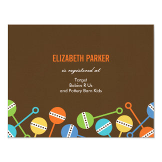 "Modern Rattles Baby Shower Registry Cards 4.25"" X 5.5"" Invitation Card"