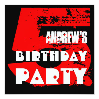 Modern RED 5th Birthday Party 5 Year Old V08 13 Cm X 13 Cm Square Invitation Card