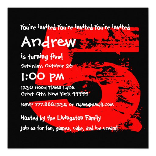 Modern RED 5th Birthday Party 5 Year Old V08 Personalized Invites