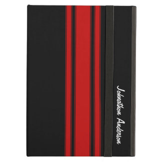 Modern Red And Black Racing Stripes With Name iPad Air Case