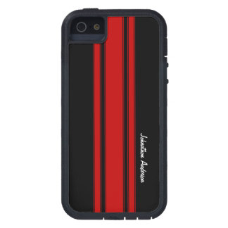 Modern Red And Black Racing Stripes With Name iPhone 5 Case