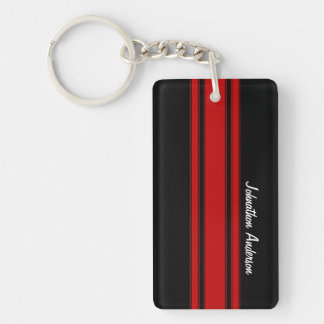 Modern Red And Black Racing Stripes With Name Key Ring