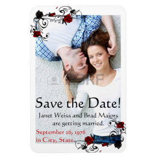 Modern Red and Black Rose Save the Date Magnet