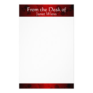 Modern Red and Black Rose Stationary Stationery Paper