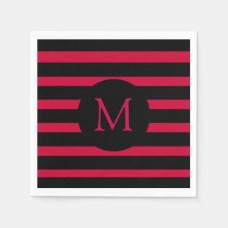 Modern Red and Black Stripes Monogram Disposable Serviette