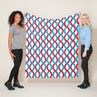 Modern Red and Blue Entwined Waves Pattern Fleece Blanket