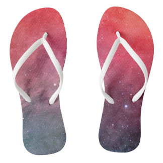 Modern Red and Gray Galaxy Flip Flop